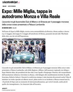 Expo_ Mille Miglia, tappa in autodromo Monza e