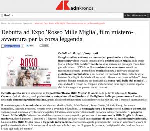Debutta ad Expo 'Rosso Mille Miglia', film mistero-avventura per la corsa leggen-1